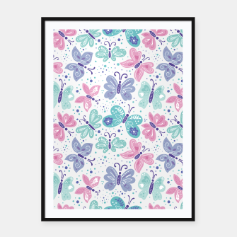Thumbnail image of Pink, teal and blue butterflies Framed poster, Live Heroes