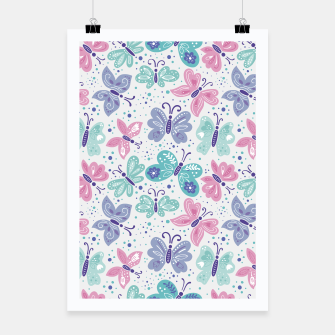 Thumbnail image of Pink, teal and blue butterflies Poster, Live Heroes