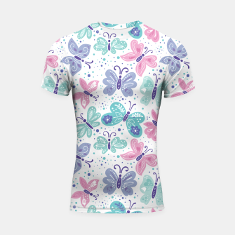 Thumbnail image of Pink, teal and blue butterflies Shortsleeve rashguard, Live Heroes