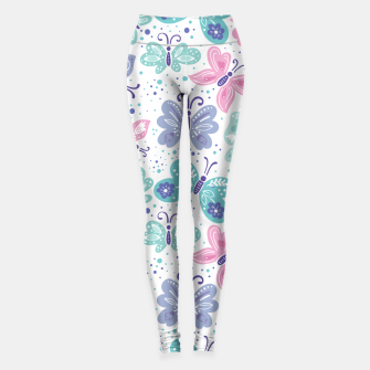 Thumbnail image of Pink, teal and blue butterflies Leggings, Live Heroes