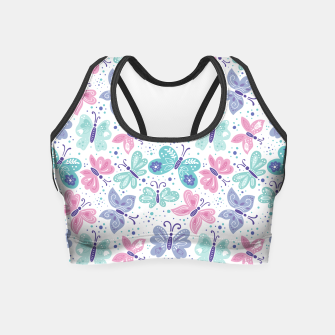 Thumbnail image of Pink, teal and blue butterflies Crop Top, Live Heroes