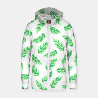 Imagen en miniatura de Block Palm Leaf Print Cotton zip up hoodie, Live Heroes