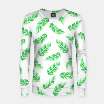 Imagen en miniatura de Block Palm Leaf Print Woman cotton sweater, Live Heroes