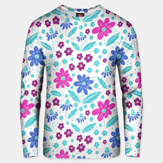 Thumbnail image of pink, blue and teal flowers Cotton sweater, Live Heroes