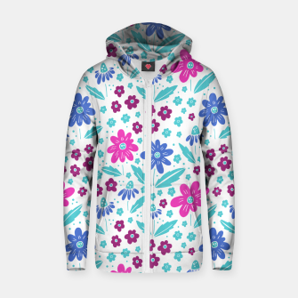 Thumbnail image of pink, blue and teal flowers Cotton zip up hoodie, Live Heroes