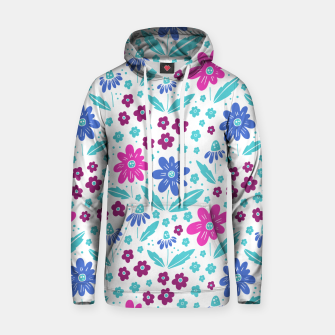 Thumbnail image of pink, blue and teal flowers Cotton hoodie, Live Heroes