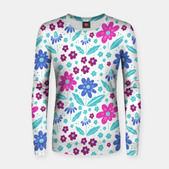 Thumbnail image of pink, blue and teal flowers Woman cotton sweater, Live Heroes