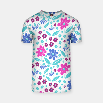 Thumbnail image of pink, blue and teal flowers T-shirt, Live Heroes