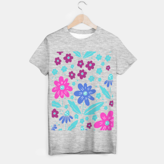 Thumbnail image of pink, blue and teal flowers T-shirt regular, Live Heroes