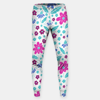 Thumbnail image of pink, blue and teal flowers Cotton sweatpants, Live Heroes