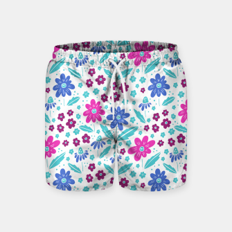 Thumbnail image of pink, blue and teal flowers Swim Shorts, Live Heroes