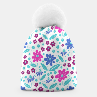 Thumbnail image of pink, blue and teal flowers Beanie, Live Heroes