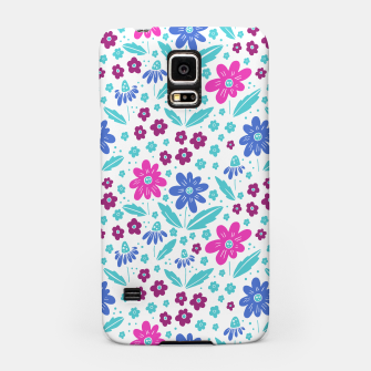 Thumbnail image of pink, blue and teal flowers Samsung Case, Live Heroes