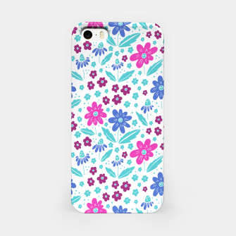 Thumbnail image of pink, blue and teal flowers iPhone Case, Live Heroes
