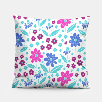 Miniatur pink, blue and teal flowers Pillow, Live Heroes
