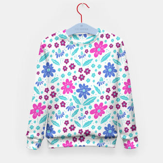 Miniatur pink, blue and teal flowers Kid's sweater, Live Heroes