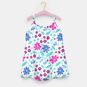 Thumbnail image of pink, blue and teal flowers Girl's dress, Live Heroes
