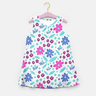 Miniatur pink, blue and teal flowers Girl's summer dress, Live Heroes