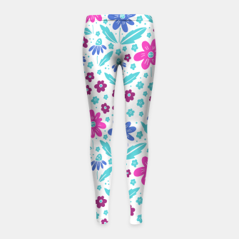 Thumbnail image of pink, blue and teal flowers Girl's leggings, Live Heroes