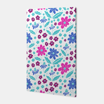 Thumbnail image of pink, blue and teal flowers Canvas, Live Heroes