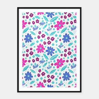 Thumbnail image of pink, blue and teal flowers Framed poster, Live Heroes