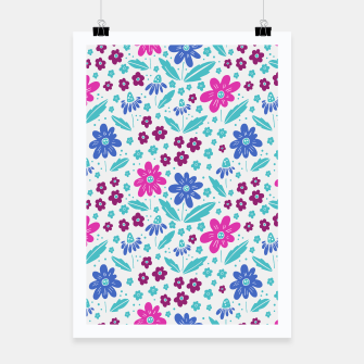 Thumbnail image of pink, blue and teal flowers Poster, Live Heroes