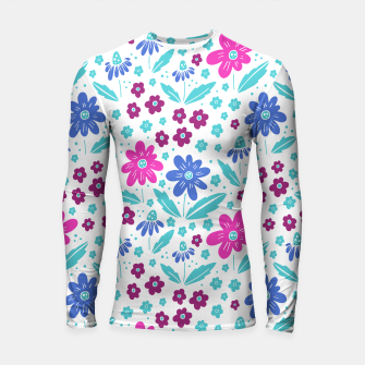 Thumbnail image of pink, blue and teal flowers Longsleeve rashguard , Live Heroes