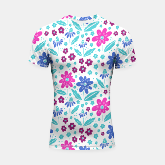 Thumbnail image of pink, blue and teal flowers Shortsleeve rashguard, Live Heroes