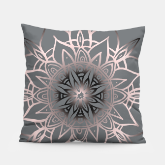Miniatur Mandala Light Rose Gold Blush on Soft Gray #2 #decor #art Kissen, Live Heroes