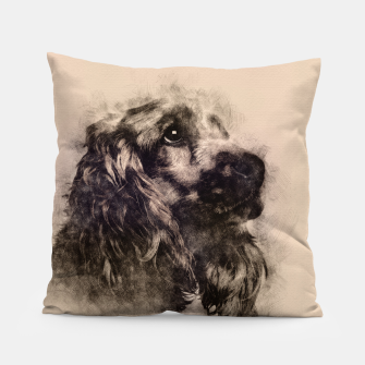 Miniatur English Cocker Spaniel Sketch Pillow, Live Heroes