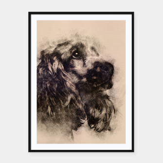 Thumbnail image of English Cocker Spaniel Sketch Framed poster, Live Heroes