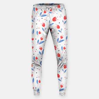 red flowers and blue leaves Cotton sweatpants Bild der Miniatur