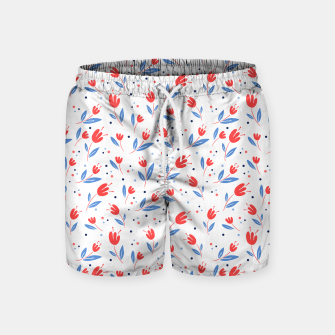 red flowers and blue leaves Swim Shorts Bild der Miniatur