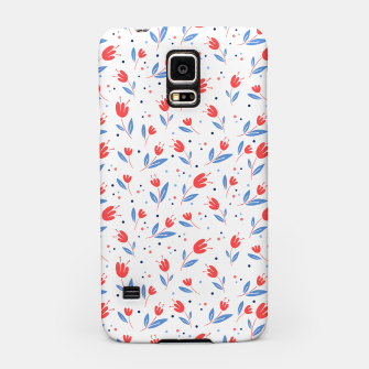 red flowers and blue leaves Samsung Case Bild der Miniatur
