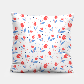 red flowers and blue leaves Pillow Bild der Miniatur
