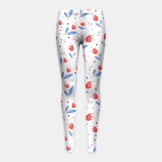red flowers and blue leaves Girl's leggings Bild der Miniatur