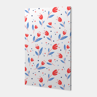 Thumbnail image of red flowers and blue leaves Canvas, Live Heroes