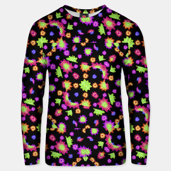 Thumbnail image of Dark Multicolored Stylized Floral Pattern Cotton sweater, Live Heroes
