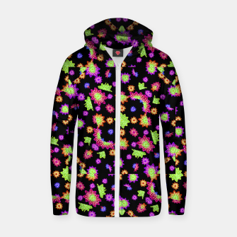 Thumbnail image of Dark Multicolored Stylized Floral Pattern Cotton zip up hoodie, Live Heroes