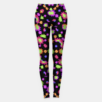 Thumbnail image of Dark Multicolored Stylized Floral Pattern Leggings, Live Heroes