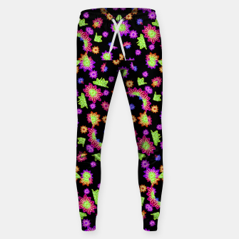 Thumbnail image of Dark Multicolored Stylized Floral Pattern Cotton sweatpants, Live Heroes