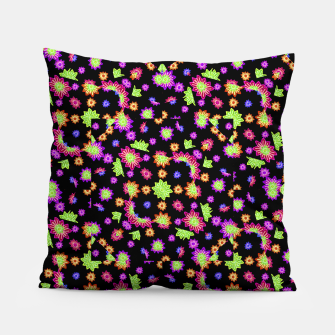 Thumbnail image of Dark Multicolored Stylized Floral Pattern Pillow, Live Heroes