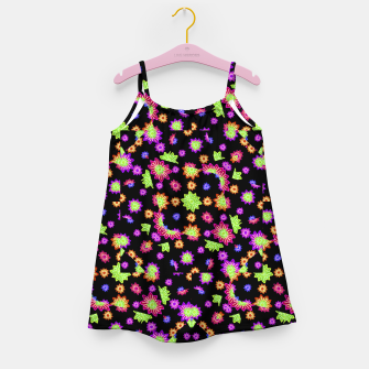 Thumbnail image of Dark Multicolored Stylized Floral Pattern Girl's dress, Live Heroes