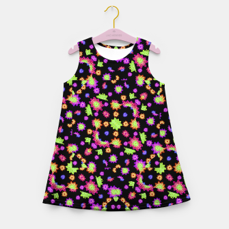 Thumbnail image of Dark Multicolored Stylized Floral Pattern Girl's summer dress, Live Heroes