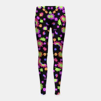Thumbnail image of Dark Multicolored Stylized Floral Pattern Girl's leggings, Live Heroes