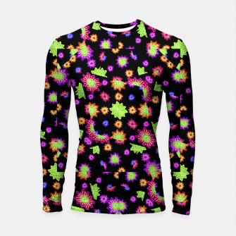 Thumbnail image of Dark Multicolored Stylized Floral Pattern Longsleeve rashguard , Live Heroes