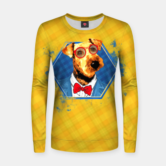 Thumbnail image of Hipster Airedale Terrier  Woman cotton sweater, Live Heroes