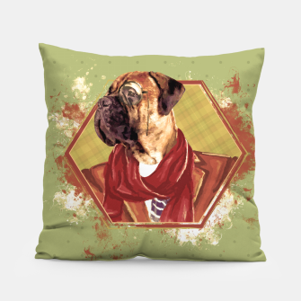 Thumbnail image of Hipster Bullmastiff Pillow, Live Heroes