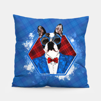Thumbnail image of Hipster French Bulldog -Frenchie  Pillow, Live Heroes