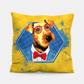 Thumbnail image of Hipster Airedale Terrier  Pillow, Live Heroes